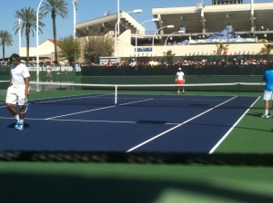 Nadal & Verdasco practice, IW2012, 10 March